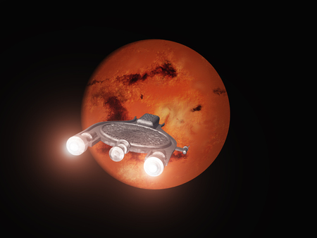 우주선이 화성을 향하고있다.