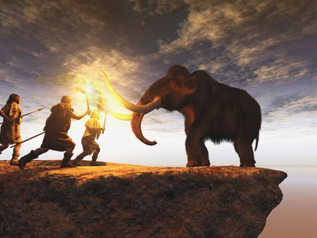 Prehistoric men hunting a young mammoth