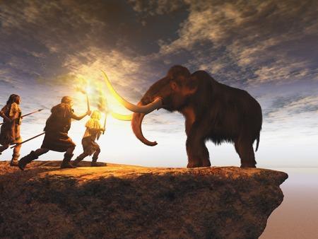 Prehistorische mannen die een jonge mammoet zoeken Stockfoto