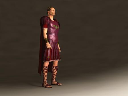 Ilustración 3D del emperador Julio César Foto de archivo