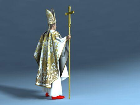3d illustration of a Catholic pope Stock Photo