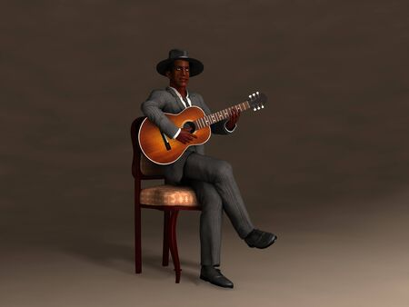 3d illustration of an old blues man