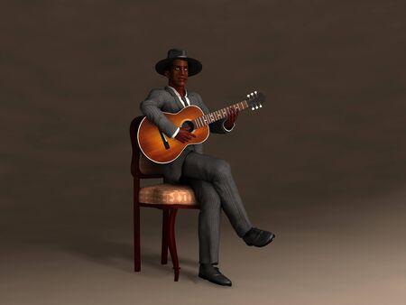 3d illustration of an old blues man
