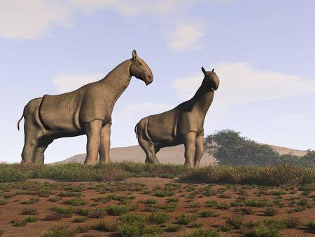 두 가지 indricotherium의 3d 일러스트