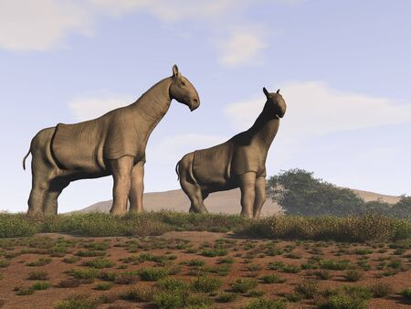 3d illustration of two indricotherium Stock Photo