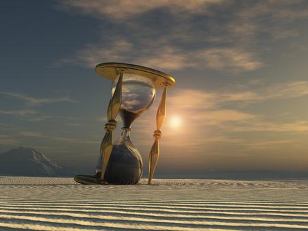 Hourglass in the desert Stock Photo