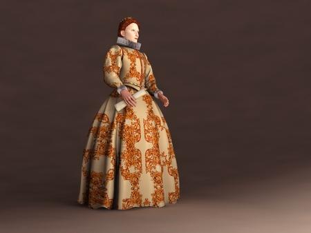 3d illustration of Elizabeth I of England