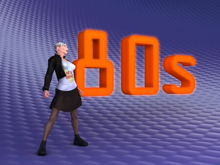 3d illustration about the 1980s