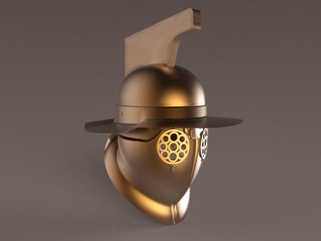 3d illustration of a gladiator's helmet Stock Photo