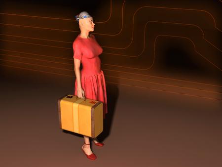 골동품 가방이 달린 로봇