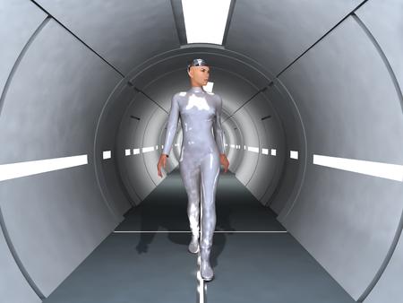 복도를 걸어가는 로봇 여자