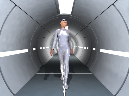 Robot woman walking down a corridor
