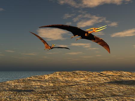 두 pteranodons의 3D 일러스트