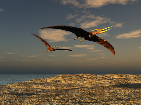 3D illustration of two pteranodons Stock Photo