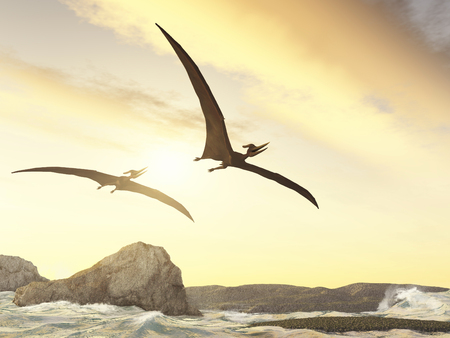 Two pteranodons flying over rocks in the sea