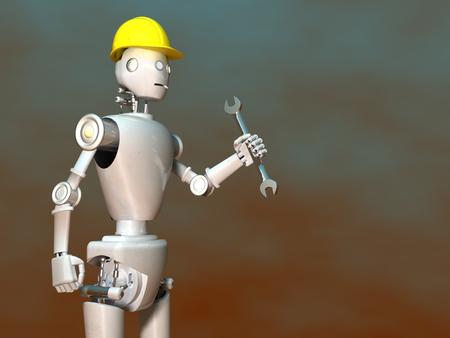 3d illustration of a robot worker
