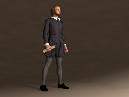 3d illustration of William Shakespeare