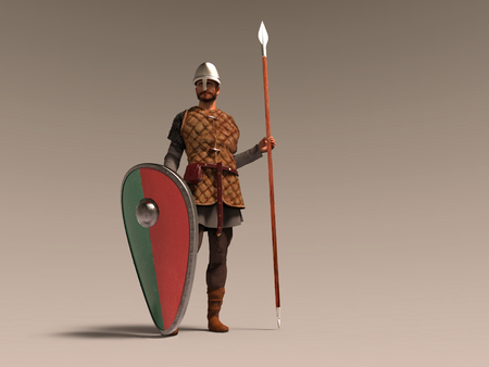 3d illustration of a medieval soldier 스톡 콘텐츠