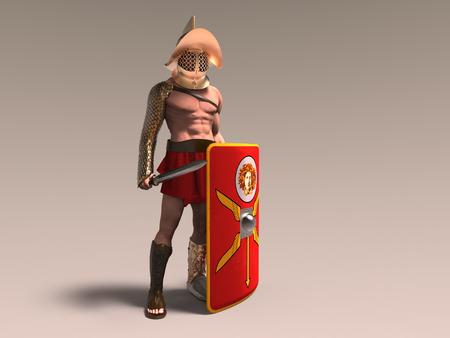 3d illustration of a murmillo gladiator