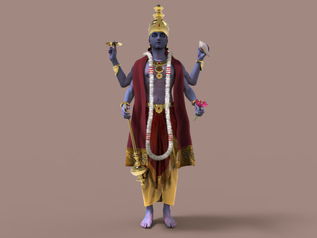 3d illustration of Hindu God Vishnu