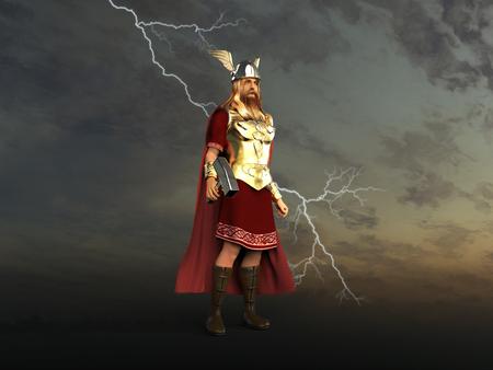 3d illustration of God Thor Archivio Fotografico