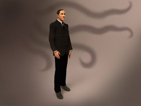 3d illustration of Howard Phillips Lovecraft