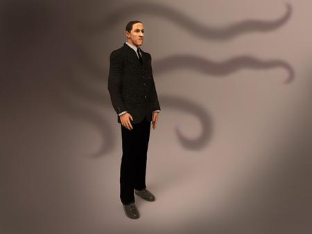 3d illustration of Howard Phillips Lovecraft