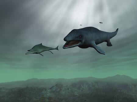 Mosasaurus chasing an Ichthyosaur 스톡 콘텐츠