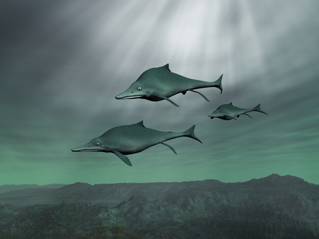 3d illustration of three Ichthyosaurs