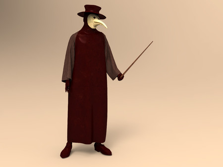3d illustration of a plague doctor 스톡 콘텐츠