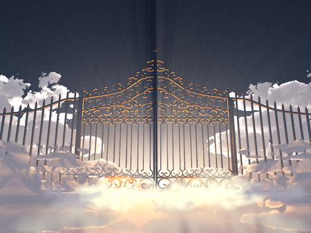 3d illustration of a gate in the sky Stock Photo