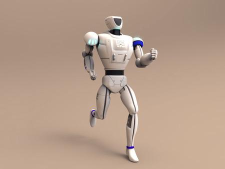 3d illustration of a running robot Stock Photo