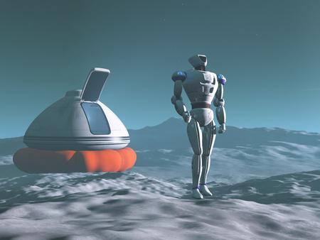 Robot exploring a planet
