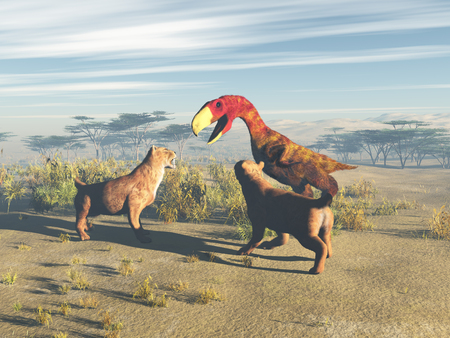 Two saber-toothed tigers facing a terror bird