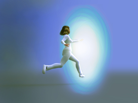 Woman stepping into a vortex of light