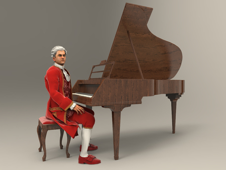 3d illustration of Wolfgang Amadeus Mozart