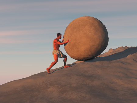 Man pushing a large stone on a slope 스톡 콘텐츠