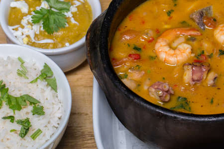 Seafood feijoada, tradition of Brazilian cuisine and typical foods.
