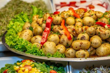 close upbaby potato salad at restaurant buffet.
