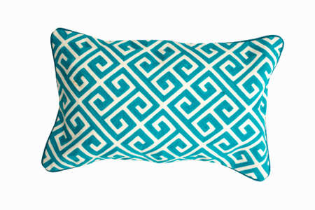 Decorative rectangular pillow, with geometric pattern in green and white color, isolated on white background.