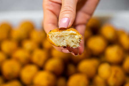 croquette made from potatoes with cod is a traditional Portuguese dish.