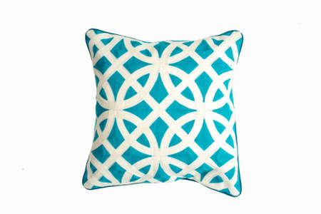 Decorative soft pillow, with geometric pattern in green and white color, isolated on white background. 写真素材