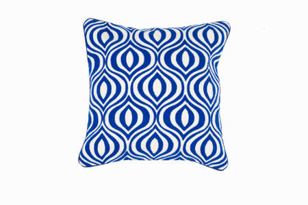 Decorative soft pillow, with geometric pattern in blue and white color, isolated on white background. 写真素材