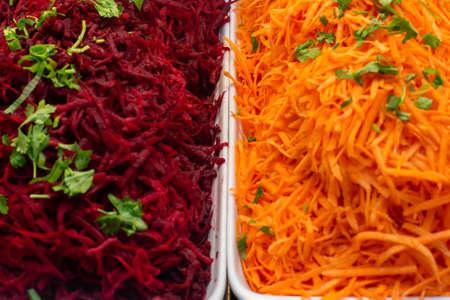 beet and grated carrot salad. healthy food vegan food.