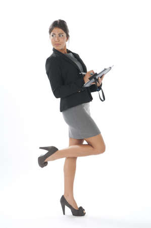 Suspicious female young business executive looking aside. Stock Photo - 14429466