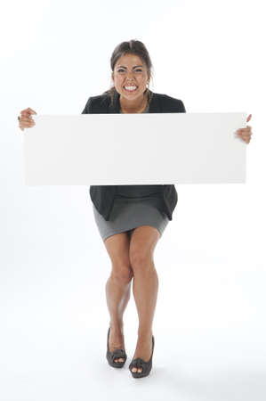 Excited young business woman, holding sign on white background. photo