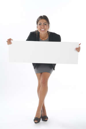 Excited young business woman, holding sign on white background.