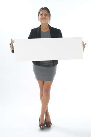 Self motivated young business woman, holding sign on white background.