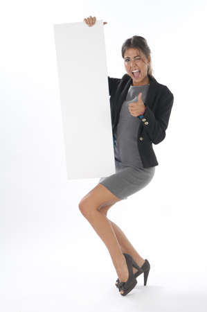 Happy thumb up young business woman, holding sign on white background. photo
