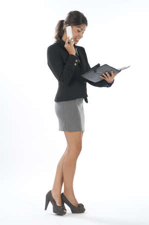 Young executive female, talking on the phone holding notebook. Stock Photo - 14429525